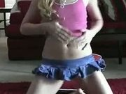 sexy blonde dancing and playing