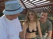 Beautiful wife enjoyed an outdoor threesome