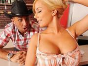 Busty blonde squaredancer seduces a partner and rides him on dance floor