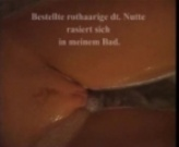 German bitch shaving her pussy