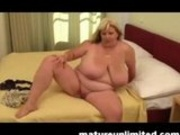 Mature BBW plays with her new toy