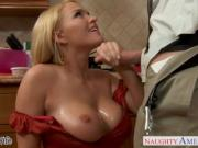 Chesty wife Krissy Lynn slurping cum in the kitchen