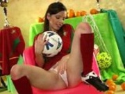 Super hot busty euro teen in her soccer uniform