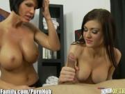 Daughter learns Cock Sucking from Busty Mom
