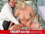 Dirty doctor fingering hot blonde Gabriela in gyno exam room