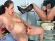 Pregnant lesbians playing with their toys