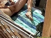 Wife beating off hiddencam
