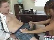 Sexy latina Sativa stoking, tit-fucking and sucking her professors hard coc
