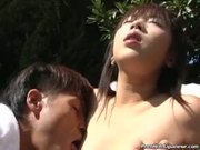 Petite asian outdoor blowjob
