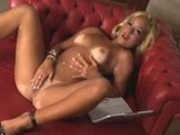 Hot blonde latina masturbates next to her computer