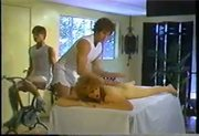 Table massage turns into DP threesome