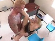 Holly, a blonde slut with big tits in a cowgirl outfit, fucked hard by the 
