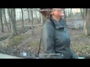 Busty pick up girl works two dicks