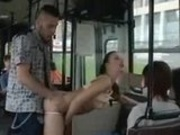 Public indecency on the bus, this horny couple doesn't give a shit!