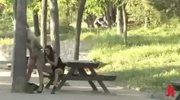 Busty blonde sex slave forced to fuck outdoor in public sex by sa