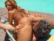 Mercedes Ashley filled with cock by the pool