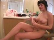 Naked Girl Rubs Herself In Lotion
