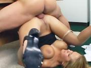 Big boobed secretary sucking and fucking in ripped up pantyhose