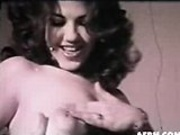 Retro b & w brunette suck their pussy with a vacum
