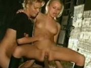 Two blonde beauties anal fucked in the stables