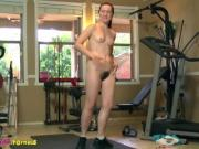 Natural Big Bush Annabelle Lee working out in the gym...BUTT NAKED!