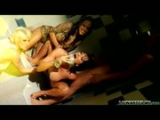 3 tattooed babes sexually spoil a lucky man in the shower