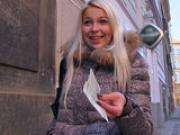 Platinum blonde Czech girl is picked up in the street and paid to