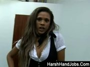 Keisha Kane gives a harsh handjob