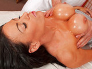 Yung Mom Vanilla Devine enjoys a hot oily massage followed by a huge cock