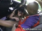 Euro Interracial Couple....Backseat Fuck