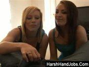 Axa Jay and Jessica Pressley giving a harsh handjob