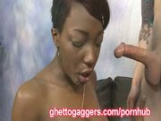 Two White Guys Fuck Her Ebony Throat
