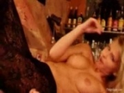 Gina teases and rubbs her pussy on the bar