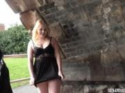 Blonde babes public masturbation and outdoor pussy flashing of sexy amateur