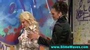 Glamorous lesbians get bukkake while making out in gloryhole