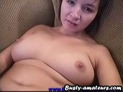 Busty amateur Vanessa jerking her pussy on the couch