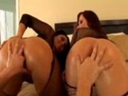 Jiggly ass stocking anal threesome