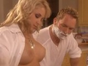 Luscious Sarah Vandella shaves and fucks on the counter