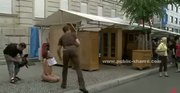 Office dressed slut undressed in public and humiliated in rough p