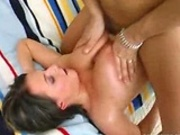 Busty brunette gets fucked and jizzed on