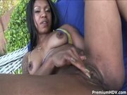 Black chick jumping on fat dick