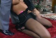 Busty Jenaveve fucking in pantyhose with a ripped out crotch
