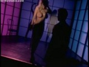 Brittany Andrews finishes her striptease dressed as a cop