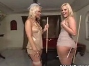 Two hot babe playing with sticks