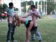 A young pretty teen girl PUBLIC gang bang orgy in broad daylight