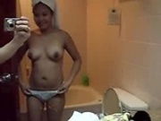Hot asian getting out of shower
