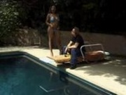 All Natural Ebony Poolside Anal