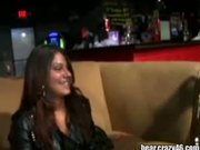 Crazy party girls sucking on some lucky strippers cock