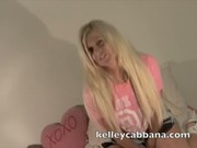 Kelley Cabbana Rubs her tits & pussy on a pink couch