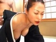 Horny Japanese sucking on cock and getting banged